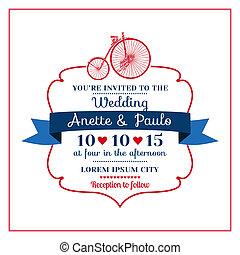 自転車, 結婚式, -, 主題, ベクトル, 招待, -vintage, カード