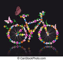 自転車, 花