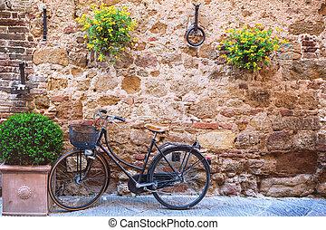 自転車, 通り, 空