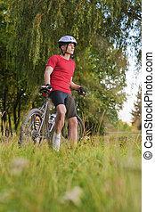 自転車, 運動選手, 若い, 肖像画, コーカサス人, ハンサム, 地位