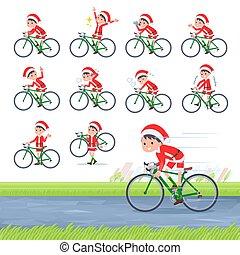 自転車, 道, claus, santa, 男の子, 平ら, タイプ