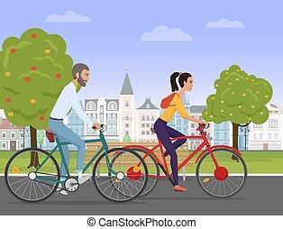 自転車, 都市, 古い, illustration., 人々, 恋人, 公園, 若い, バックグラウンド。, ベクトル, 乗馬の自転車, スポーツ, 道
