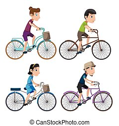 自転車, 隔離しなさい, 人々, コレクション, セット, ベクトル