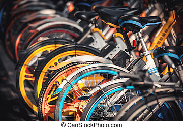 自転車, 駐車される, hangzhou, 電気である, 歩道, 分け前
