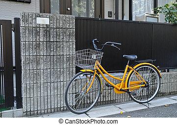 自転車, 黄色, 古典である, 駐車される