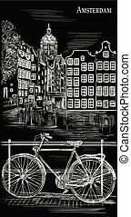 自転車, 黒, アムステルダム