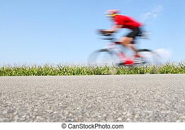 自転車, cornfield), 動き, (focus, ぼやけ, 競争