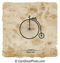 自転車, postcard., 型, レトロ, 背景, グランジ