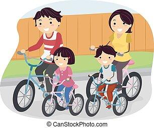 自転車, stickman, 家族