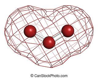 臭氧, (trioxygen, o3), 分子, 化学制品, structure.