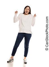 興奮させられた, 女, 若い, ジェスチャー, 勝利