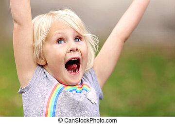 興奮させられた, 微笑, 子供, 極度, 女の子, 幸せ