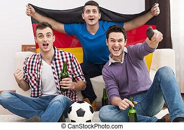 興奮, 元気づけること, 男性, マッチ, フットボール