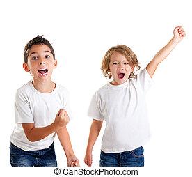 興奮, 孩子, 孩子, 愉快, 尖聲叫, 以及, 胜利者, 姿態