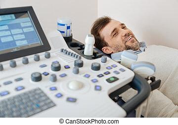 興奮, 病人, 的談話, 超聲波, 專家