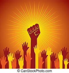 舉行, 抗議, 被緊握, 拳頭