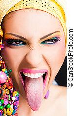 舌头, 妇女, 退出, 在外
