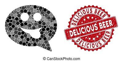 舌头, smiley, 啤酒, 马赛克, 密封, 美味, textured, 消息