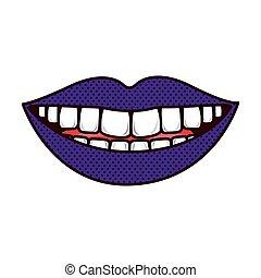 舌, 唇, teeths, シルエット, 微笑