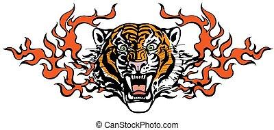 舌, tiger, 怒る, 頭, 炎