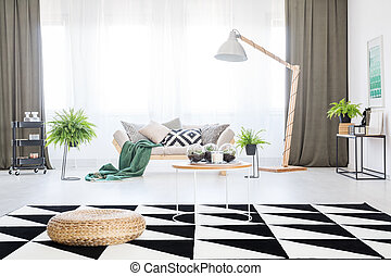 舒适, 沙发, 在中, 客厅