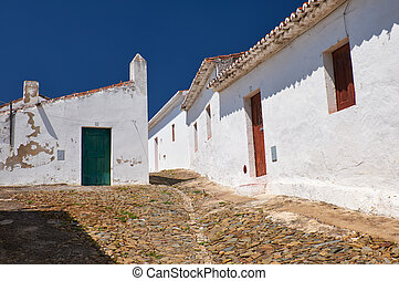 舒適, 狹窄, 鋪, 街道, 由于, 白色, 房子, 裡面, the, 老的城市, 牆壁, ......的, mertola., beja., 葡萄牙
