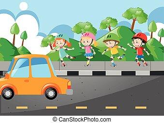 舗装, 子供, rollerskate