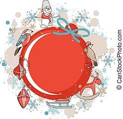 舞台裝飾, 紅色, 框架, 輪, 聖誕節