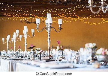 舞台裝飾, candelabra, 刀叉餐具, 蜡燭, 集中, 選擇性, 包括, 招待會, 婚禮, crockery;, 大廳