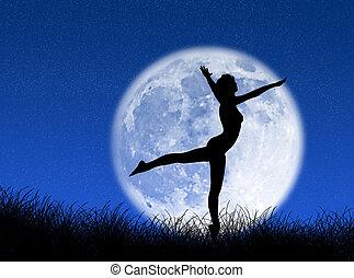 舞蹈演員, 在, 月亮