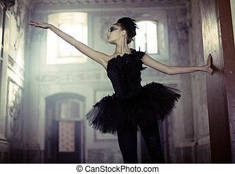 舞蹈演員, 天鵝, 芭蕾舞, 移動, 黑色