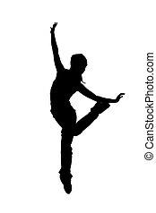 舞蹈演員, 黑色半面畫像, 白色, b, 街道