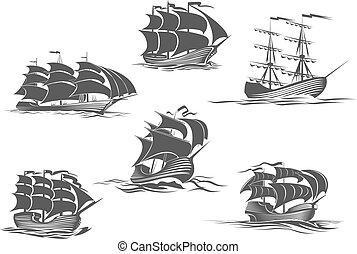 航海, ヨット, ヨット, brigantine, 船, アイコン