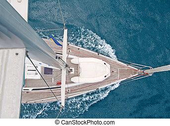 航海, 上, ボート, 光景