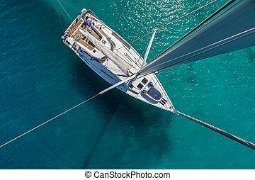 航海, 上, 固定される, shallows, ボート, 光景