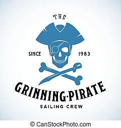 航海, 型, 抽象的, 活版印刷, クルー, にっこり笑う, 海賊, ベクトル, レトロ, テンプレート, ロゴ, ...