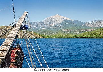 航海, 木製である, バウスプリット, 古い, 船