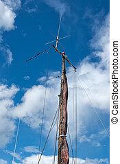 航海, 木製である, ヨット, foresail, マスト, jib