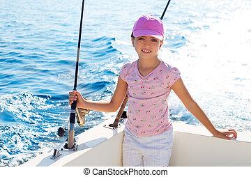 航海, 棒, 釣り, 子を抱く, 女の子, ボート