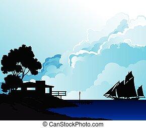 航海, 海岸線, ハウスボート