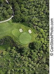航空写真, の, ゴルフ, course.