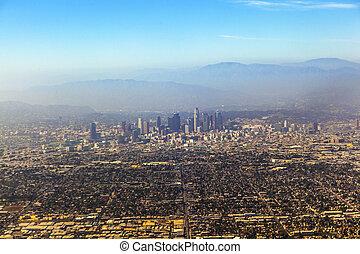 航空写真, の, ロサンゼルス