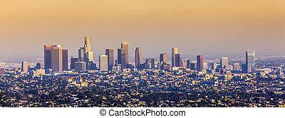 航空写真, の, ロサンゼルス, 中に, 日没