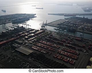 航空写真, の, 出荷, dock.