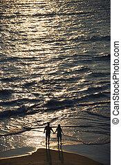 航空写真, の, 恋人, 上に, 浜。