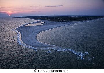 航空写真, の, 浜。