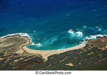 航空写真, の, 海岸線, の, molokai, ∥で∥, 波, 衝突, に, mo'omomi, 浜
