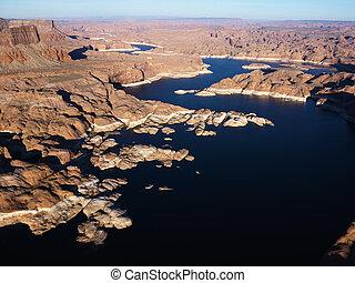 航空写真, の, 湖, powell.