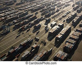 航空写真, の, 貨物, containers.
