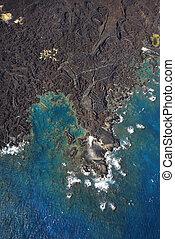 航空写真, の, coastline.